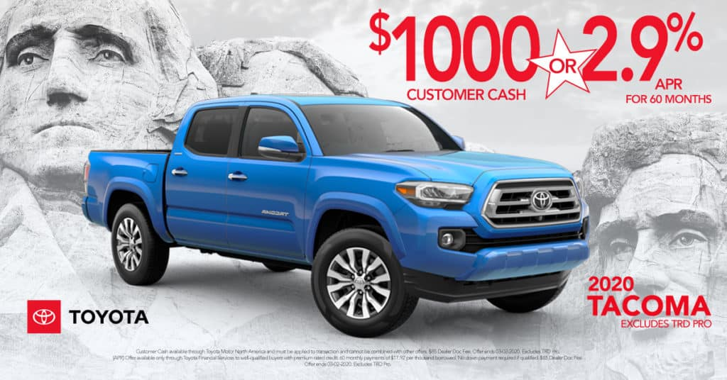 Get $1000 Customer Cash or Get 2.9% for 60 mo. On Approved Credit (Excluded TRD Pro)