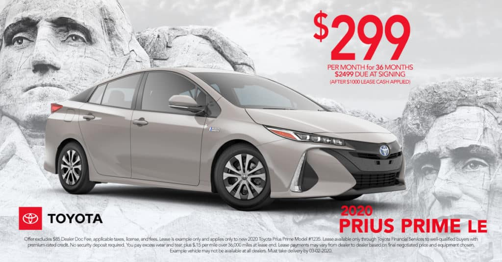 Lease Your New 2020 Prius Prime LE - $299 per month - 36 Months - $2,499 Due at Signing (after $1000 Lease Cash is Applied) On Approved Credit