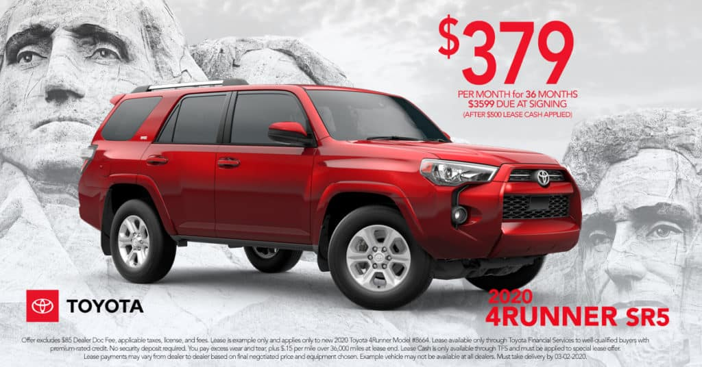 Lease a 2019 4Runner SR5 Model #8664 for $379/mo. + tax. for 36 mo. On Approved Credit