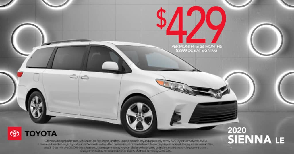 Lease a New 2020 Toyota Sienna LE for just $429