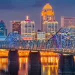 Louisville KY at Dusk over River