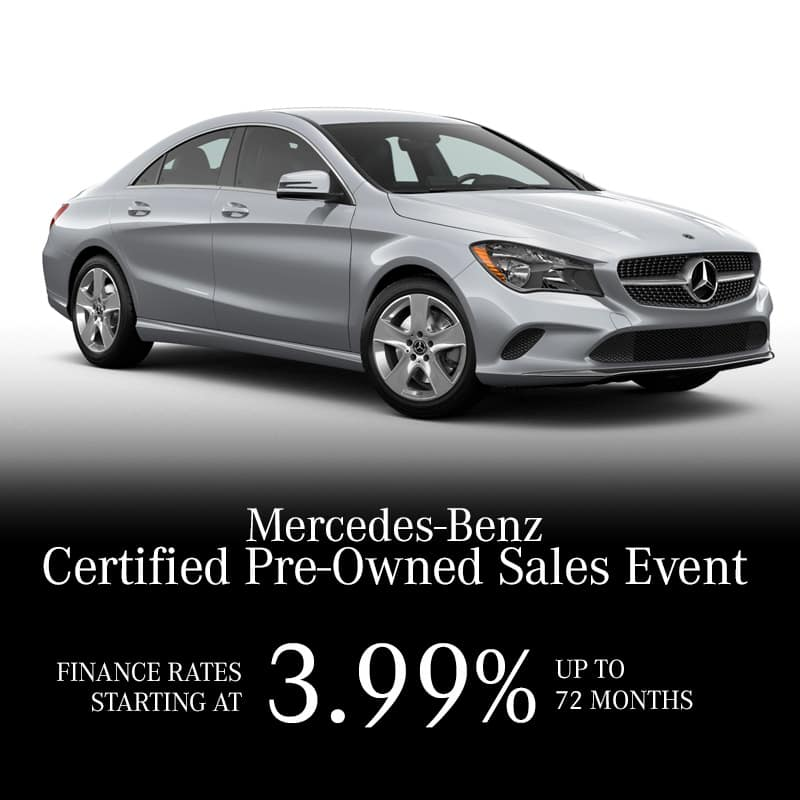 The Mercedes-Benz Certified Preowned Sales Event. Finance Rates Starting at 3.99%**