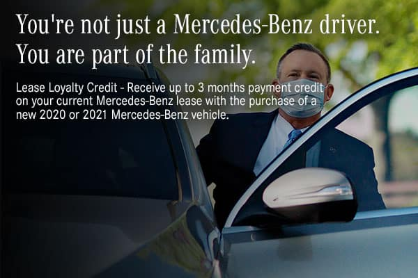 Receive up to 3 months payment credit on your current lease with the lease or finance of any New 2020 or 2021 Mercedes-Benz vehicle