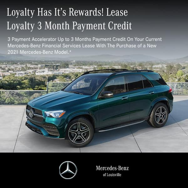 Receive up to 3 months payment credit on your current lease with the lease or finance of any New 2021 Mercedes-Benz vehicle
