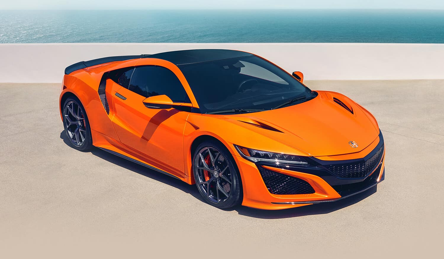 2019 Acura NSX Exterior Front Angle Passenger Side Thermal Orange