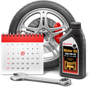 Toyota service schedule calendar with wrench, oil, and tire