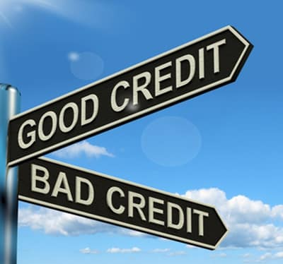 Street Sign with Good Credit and Bad Credit