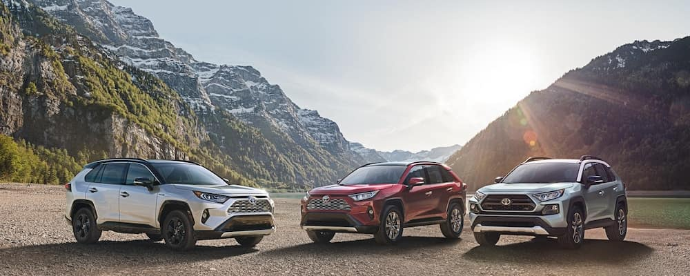 Three versions of the 2019 Toyota RAV4 Hybrid sit together in a valley