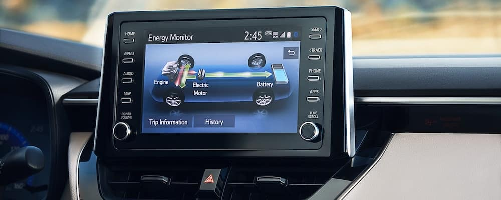 Close on screen inside 2020 Toyota Corolla showing energy monitor