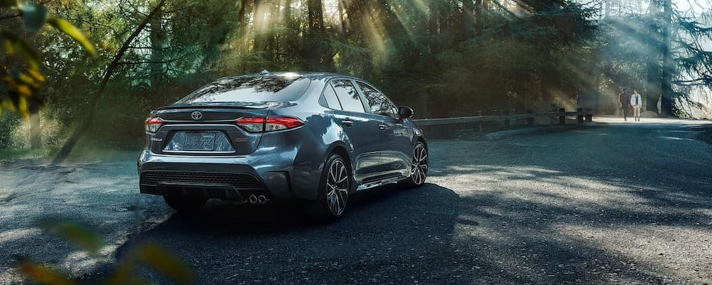 2020 Corolla from behind in forest with couple walking in background. 2020 Corolla MPG concept.