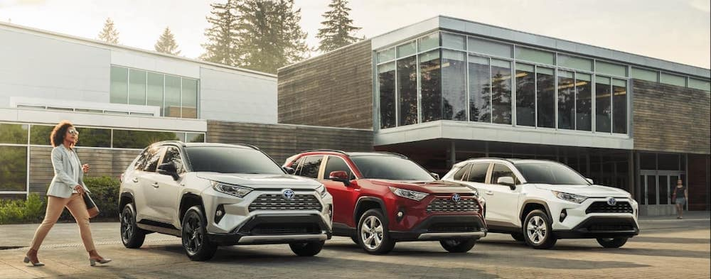 2020 RAV4 models parked in front of a building