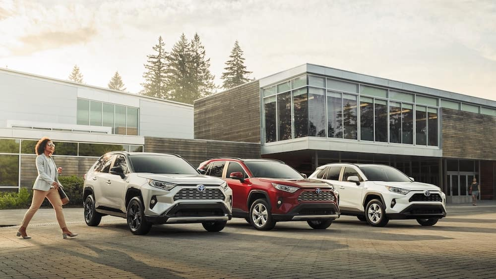 2020 RAV4 models parked outside of a building