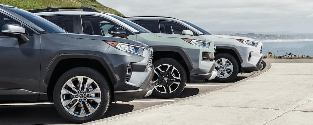 The 2020 RAV4 models parked near the water