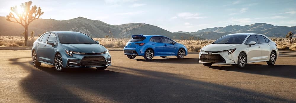 Parked 2020 Toyota Corolla models in different colors