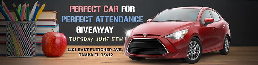 Car Give Away, Perfect Attendance, 2018, Toyota, Tampa, Toyota of Tampa Bay, Yaris, Hillsborough County Schools, Students, Win a Car,