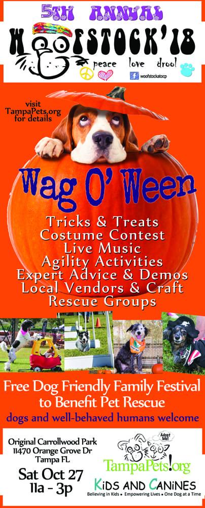 Woofstock October 27 2018 Tampa Dog Event Hillsborough County Original Carrollwood Park Lutz Pasco County Animal Serices hernando county sarasota county Free Halloween Costume Contest