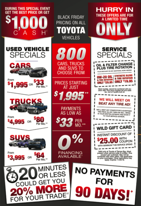 Black Friday Car Deals >> Black Friday 2018 Sales Event Open At 6am Toyota Of