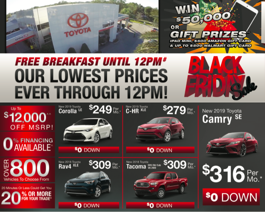Black Friday Car Deals >> Black Friday 2018 Sales Event Open At 6am Toyota Of Tampa Bay