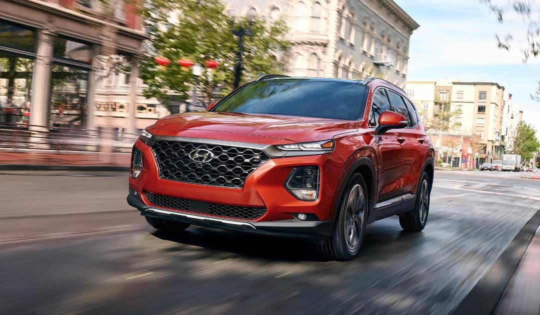 2019 Hyundai Santa Fe in red