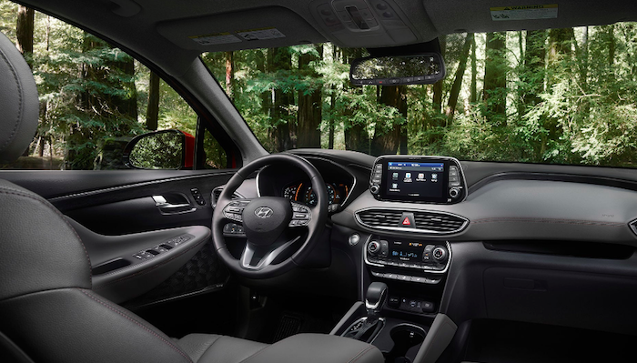 View of front seat inside 2019 Hyundai Santa Fe