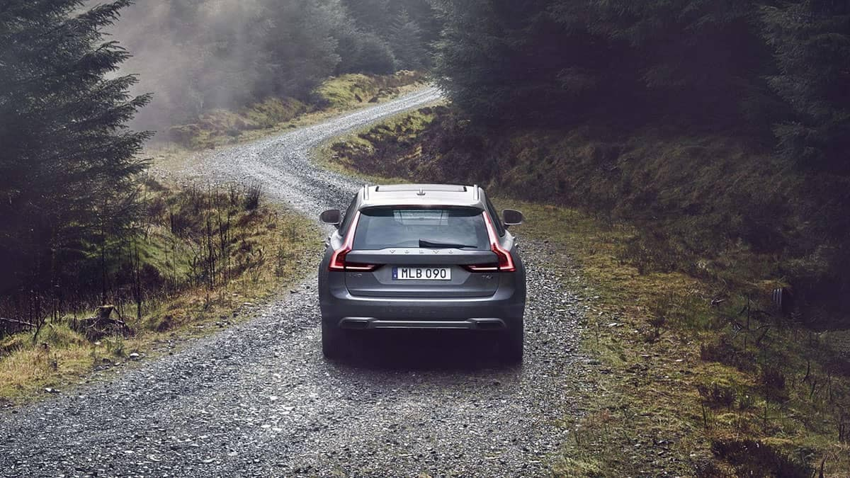 2018 Volvo V90 on winding road