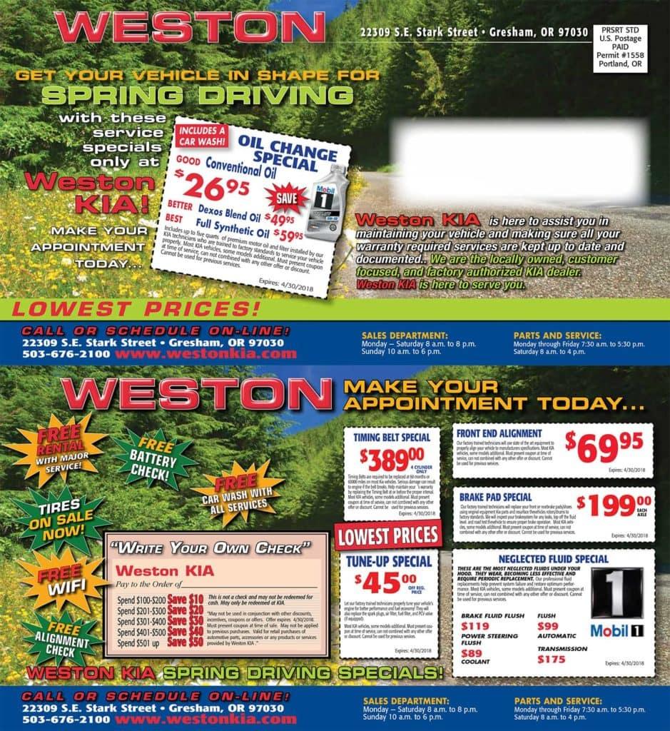 Weston Kia Spring Driving Specials